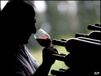 Man drinking red wine