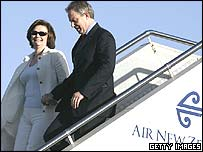 Tony and Cherie Blair arriving in Auckland, New Zealand