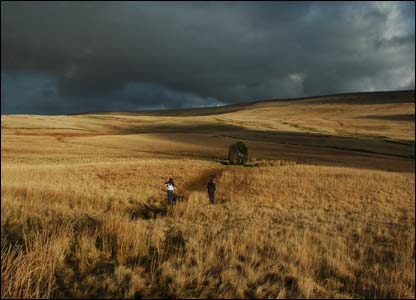 Steve Hall's children running towards the Maen Llia standing stone in the Brecon Beacons