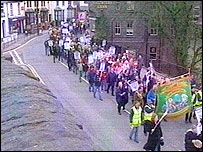 A protest march of council workers in Pontypridd