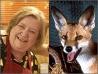 Clarissa Dickson Wright and a fox