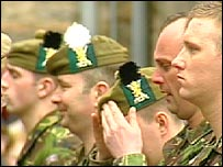 Soldiers receive their new hats