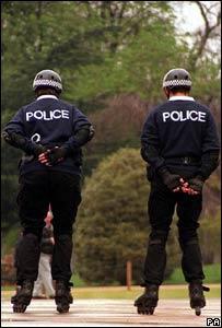 Police officers on roller skates