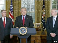 From left to right: Andy Card, George W Bush and Josh Bolten