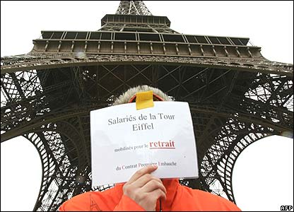 Employee outside the closed Eiffel Tower