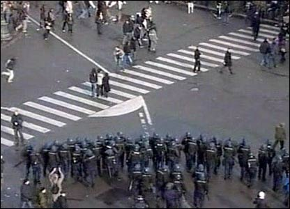 Clashes in Place de la Republique in central Paris