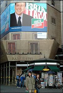 A poster of Italian Prime Minister Silvio Berlusconi