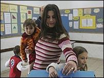Israeli Arab voters in Abu Ghosh, near Jerusalem