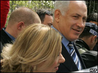 Benjamin Netanyahu, líder del Likud,   y su esposa