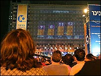 Israelis view early results on a huge screen in Tel Aviv's Rabin Square