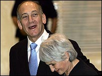 Ehud Olmert with his wife Aliza