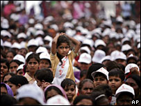 A girl during an event against female foeticide in Delhi