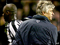 Juventus midfielder Patrick Vieira (left) and Arsenal boss Arsene Wenger