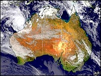 In this satellite image released by the Bureau of Meteorology of Australia, Tropical Cyclone Glenda is shown off the western coast of Australia, Wednesday, March 29, 2006.