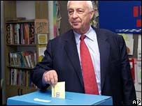 File photograph of Ariel Sharon voting in 2001