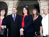 The O'Malleys' relatives: (l-r)Christine Spruce, Bernard O'Malley, Nicola Welsh and Jenny Stewart, Barbara Murphy