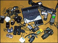 The gear that Wael and his friends took with them (photo: courtesy of Wael Deredy)