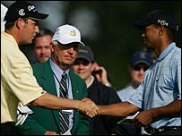 David Howell (left) and Tiger Woods