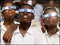 Ghanaians watch the eclipse