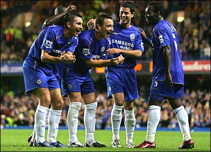 Chelsea celebrate during a 4-0 win against West Brom in the League