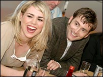 Billie Piper and David Tennant at the preview screening in Cardiff