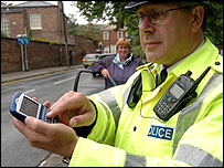 Policeman with Blackberry
