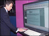 Tony Blair launching a website