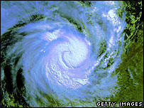 In this Satellite image Cyclone Glenda is pictured on March 30, 2006 as it approaches the Australian state of Western Australia.