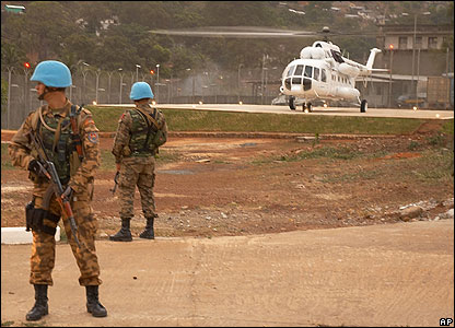 A helicopter carrying Charles Taylor lands in Freetown, Sierra Leone