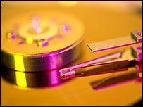 Close-up of computer hard drive