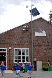 School with wind turbine (BBC)