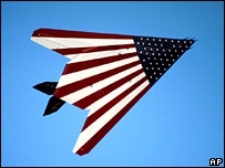 A US Air force stealth bomber painted with the Stars and Stripes for an air show (US Air force picture)