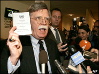 John Bolton, US ambassador to the UN, in New York, 29 March 2006