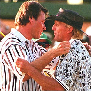 Nick Faldo (left) and Greg Norman