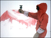 A scientist collects weather data in Antarctica (copyright John Turner)