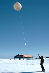 A scientist launches a weather balloon (copyright John Turner)