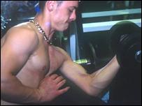 Man lifts weight