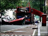 Bombed bus in Tavistock Square, 7 July 2005