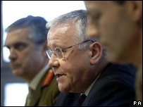 Armed forces minister Adam Ingram (centre)