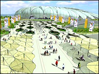 Artist impression of London Olympic Park at games time