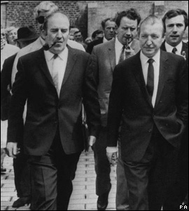Ireland's Health Minister Charles Haughey (right) and fellow Fianna Fail minister Neil Blaney
