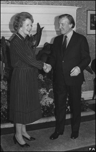 Charles Haughey, Prime Minister of the Irish Republic, who arrived in London meeting Margaret Thatcher at 10 Downing Street for talks about Northern Ireland's peace process