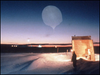 A scientist launches a weather balloon at night (copyright John Turner)