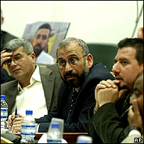 Dr Razeq with Hamas politicians in Ramallah