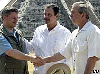 Canadian Prime Minister Stephen Harper, Mexican President Vicente Fox and George W Bush