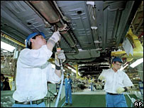 Chinese car production workers