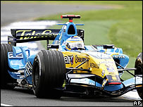 Fernando Alonso's Renault during practice at Melbourne's Albert Park track on Friday
