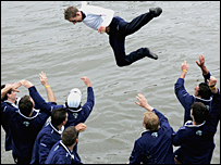 Oxford cox Acer Nethercott is thrown into the Thames after winning the Boat Race in 2005