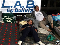 Bolivian airline employees on strike at the international airport in Santa Cruz
