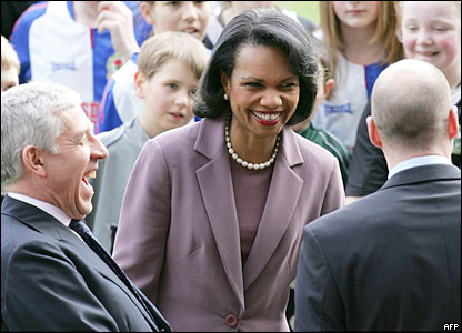 Jack Straw, Condoleezza Rice and Brad Friedel at Ewood Park, home of Blackburn Rovers